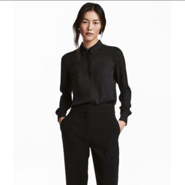 H&M Long Sleeved Blouse in Black
