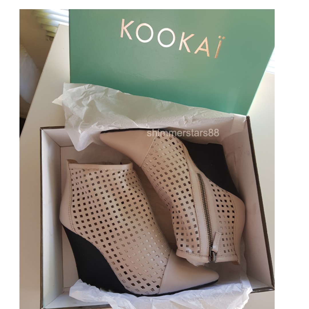 Kookai Valentina Leather Wedge Boots Shoes Size 39 Brand New!