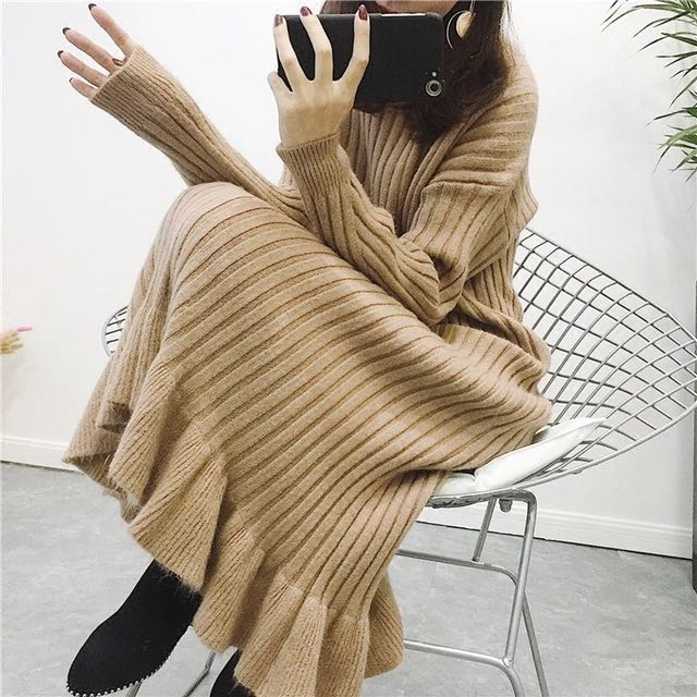Korea卡其毛料連身洋裝
