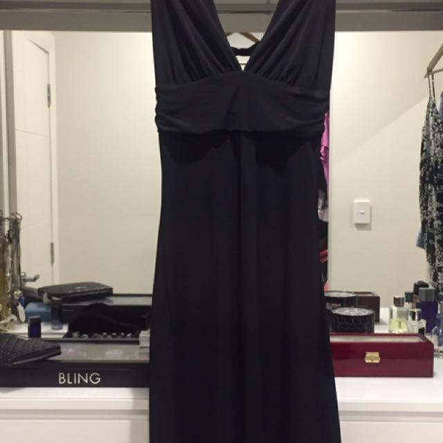 LAURENTINO BLACK HALTER NECK DRESS