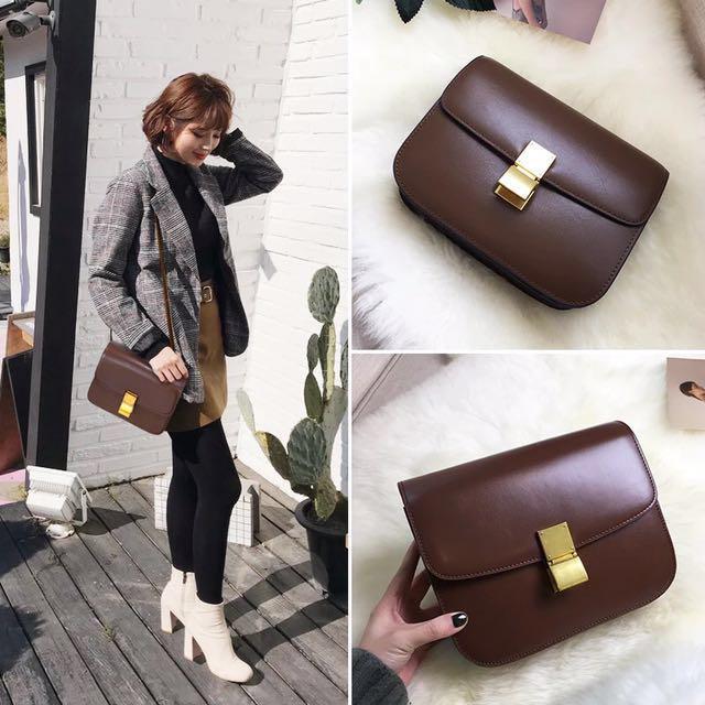 Leather bag(Celine Box) large size brand new