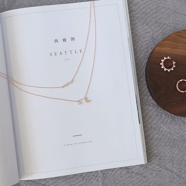 Luxury rose gold star and moon necklace petite cute
