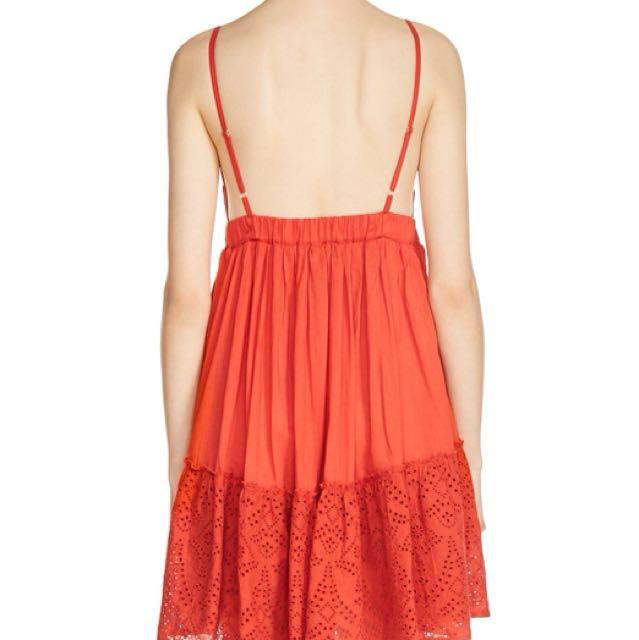 Maje red Rendi eyelet dress
