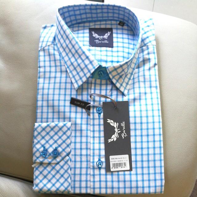Men's Shirt business shirt burello blue checkered 43 / 17