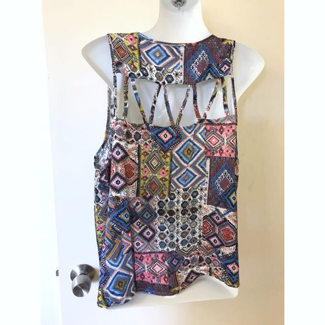 Minkpink Criss Cross back singlet tank top paisley size L or 12-14