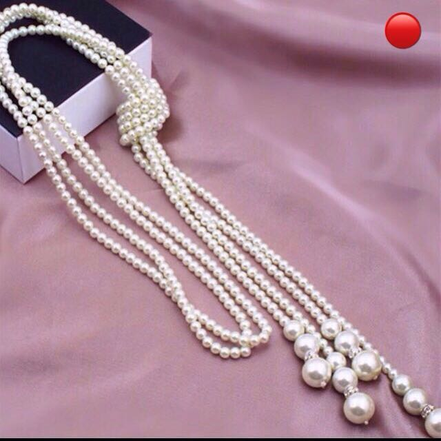 Multilayer Long Knotted (Imitation) Pearl Chain Tasselled Ends Necklace /  Belt / Waist-Tie [waistband vintage accessories gifts presents  uncle anthony