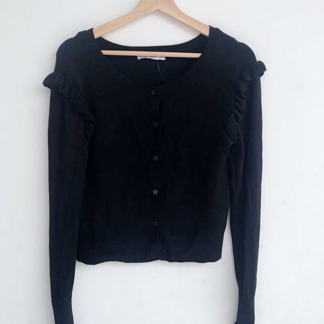 NEW - Black Zara Ruffle Cardigan size M