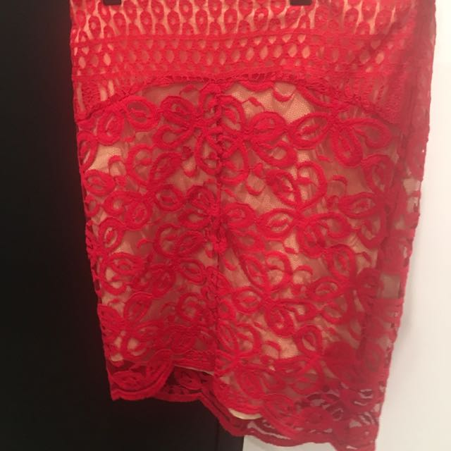 Oxford Red Lace Skirt - Size 8