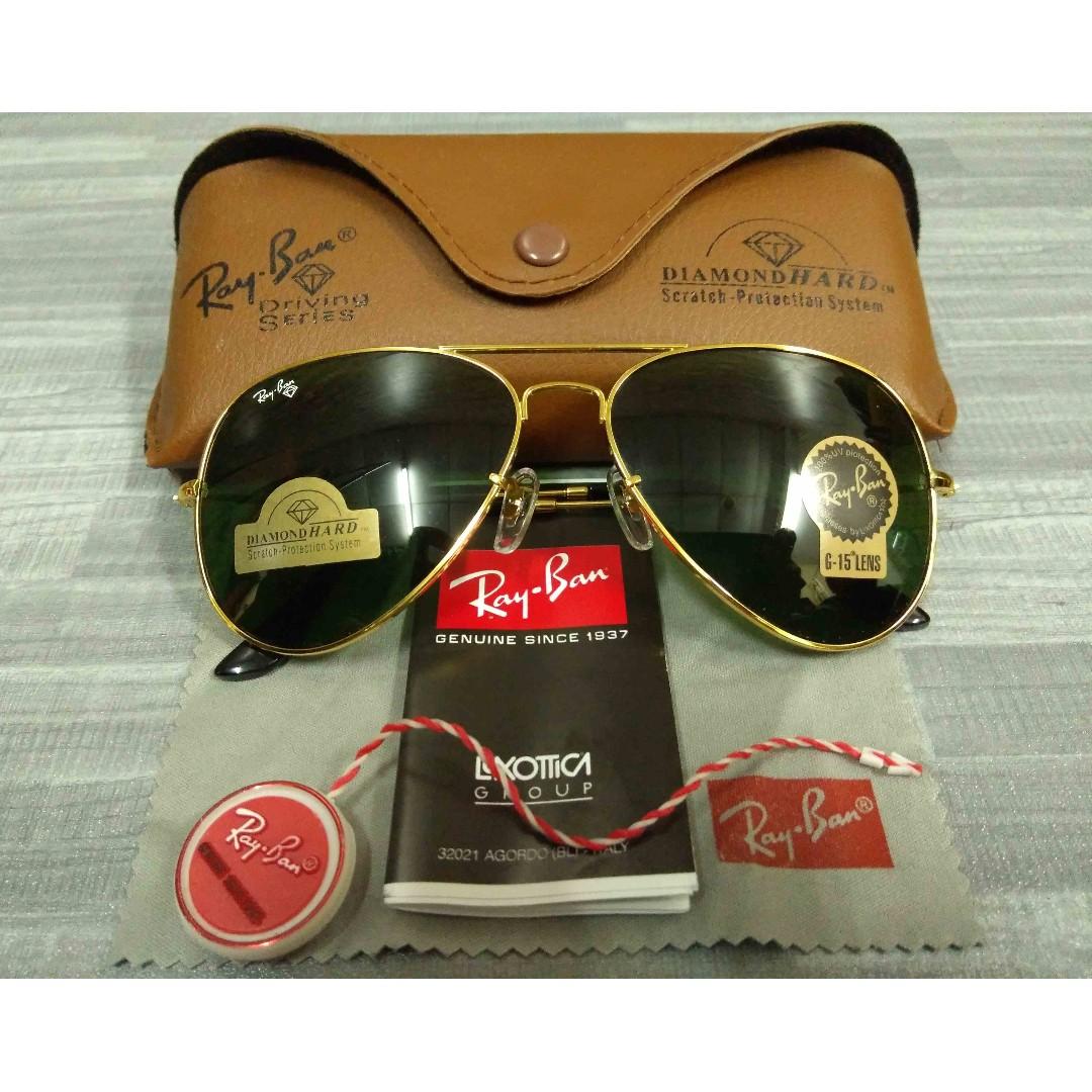 c242122c74c Rayban Diamond Hard Gold Frame Dark Green Lens Spec Spectacle ...