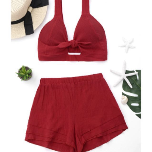 Red Two piece