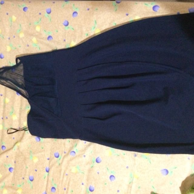 Shoulder dress navy