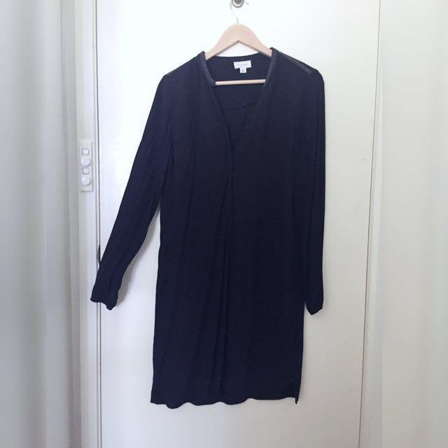 Size 8/S Witchery Black Boho Dress Knee Length LBD Long Sleeve Dress