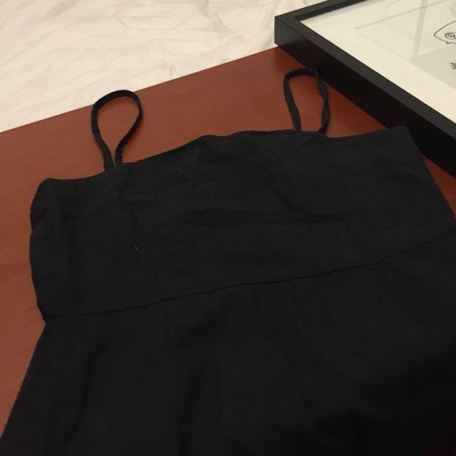 Small Black Linen Mini Dress