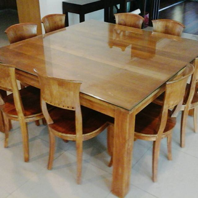 Solid Teak Wood Dining Table 8 Chairs Big Rumah Perabot