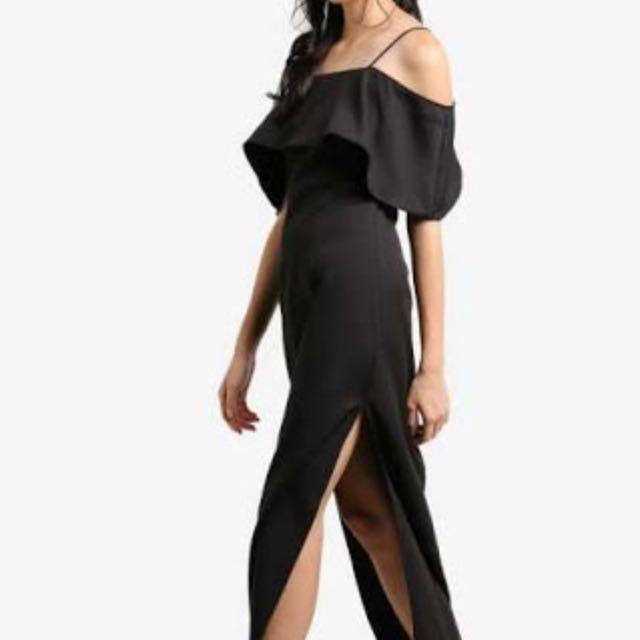 Something Borrowed Cold Shoulder Slit Black Dress XL