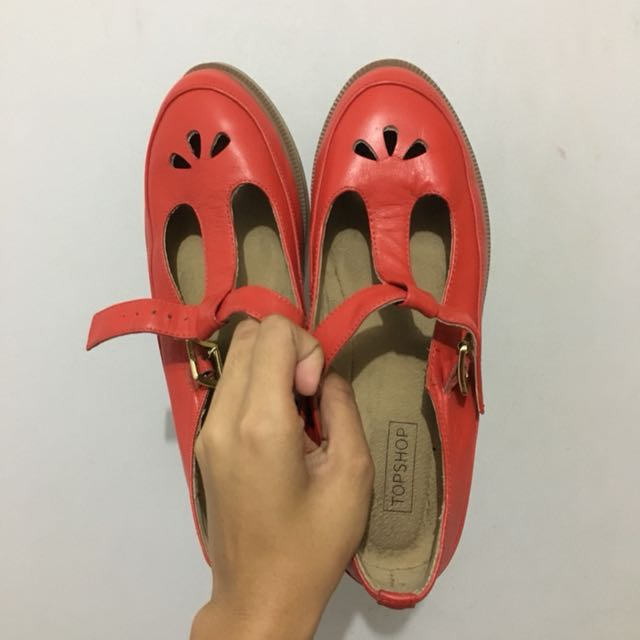 Topshop Red Vintage Mary Jane Shoes Ballerina