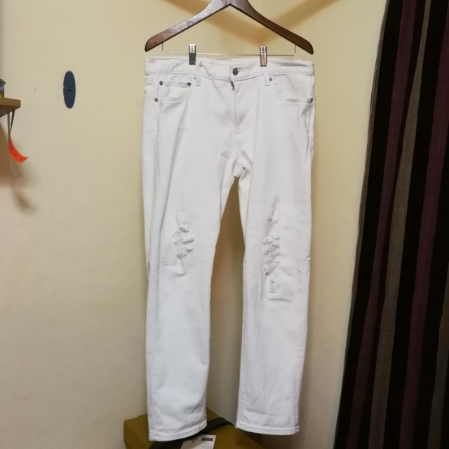 Uniqlo white denim pants size for men 34