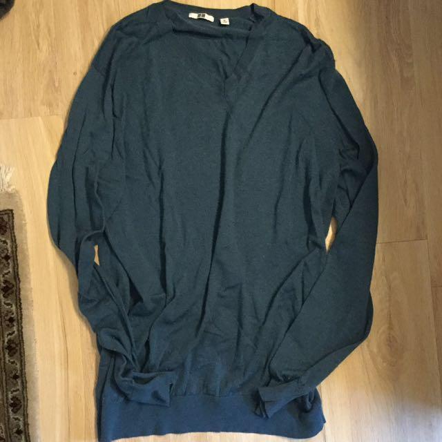 Uniqlo湖水綠純羊毛衣 XL