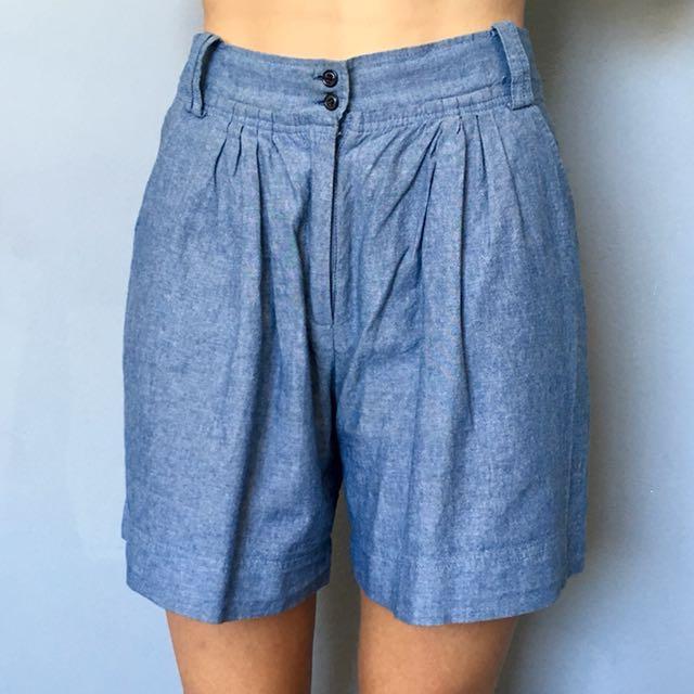 Vintage Denim-look High Waisted Shorts