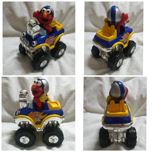 Vintage Sesame Street Elmo Press & Go Racer Car