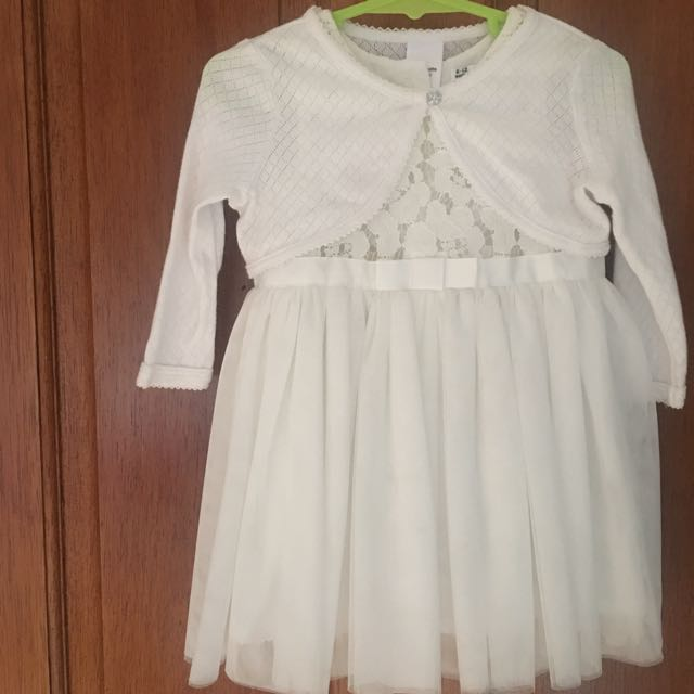 White 2 piece dress and cardigan Set size 6 - 12 months as new first birthday lace and tulle