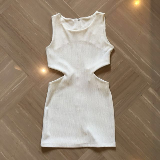 White Cut Out Waist Dress