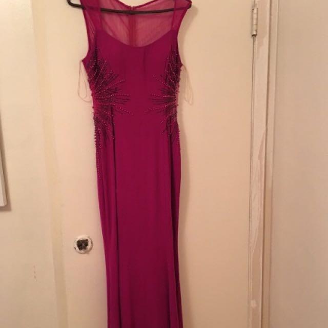 Women's light purple sleeves long dress