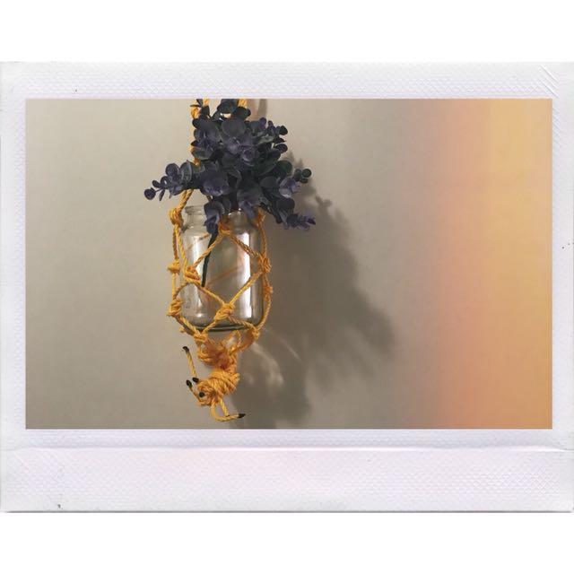 Yellow macrame plant holder ✨