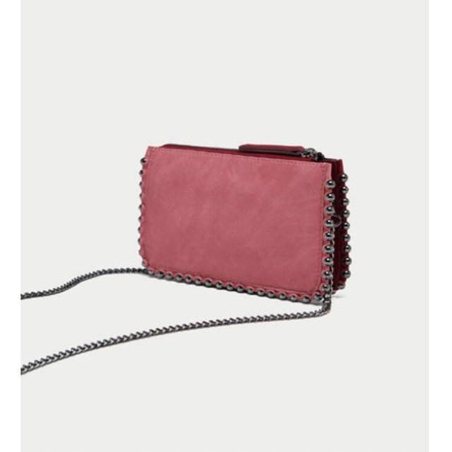 Zara burgundy/pink suede crossbody