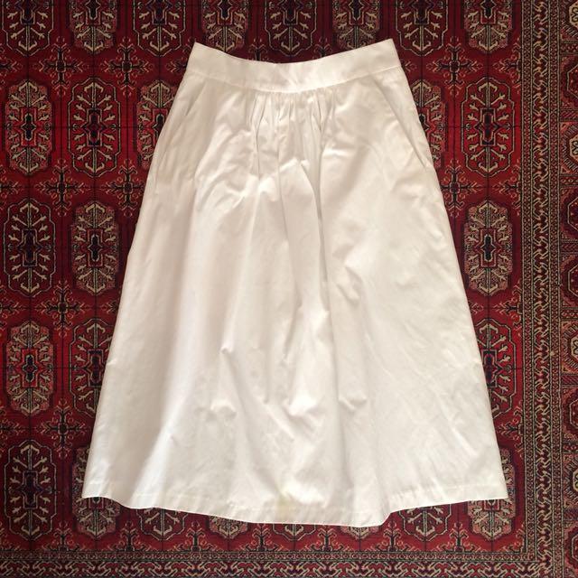 Zara White Midi Skirt