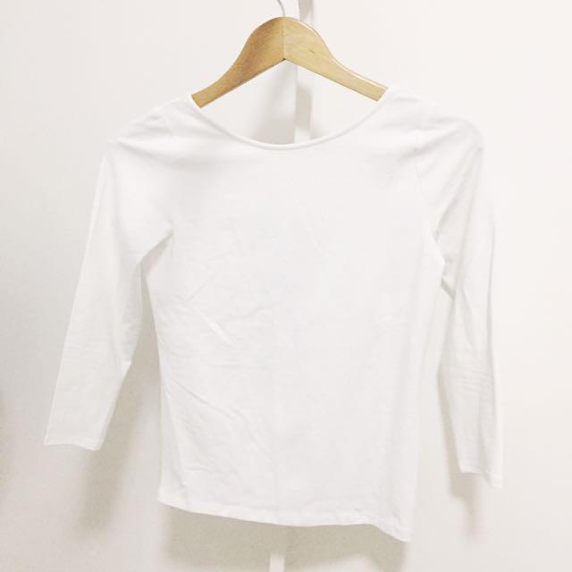 Zara White Semi Backless Longsleeves
