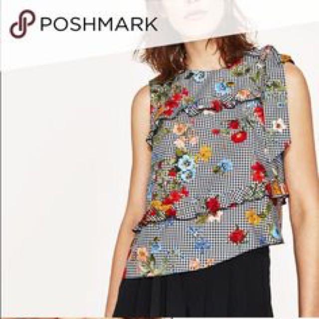 Zara-insp Floral Gingham top