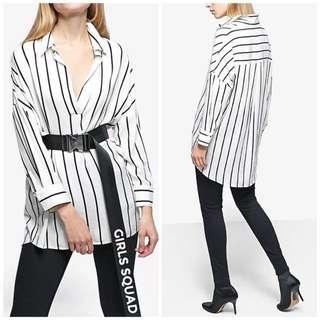 🚚 OshareGirl 01 歐美簡約條紋拼接基礎款女士襯衫上衣