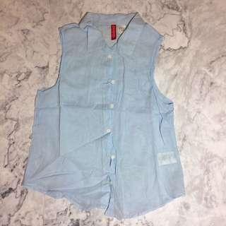 淺藍 無袖 上衣 H&M