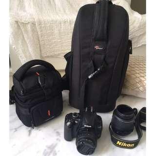 Nikon D5000 + 2 Camera bags and 50mm lens
