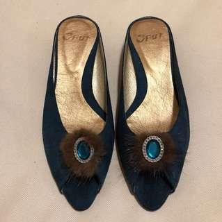 🚚 貴氣麂皮魚口鞋