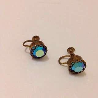 🚚 加購只要100!美國古董栓鎖式耳環vintage/古董珠寶/夾式耳環