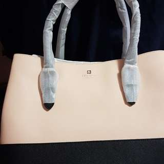 Nwt Kate Spade Cove Street Pink Beige Black Leather Airel Tote Bag Purse Handbag