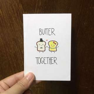 """Butter together"" pun card for Valentine's"