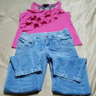 Sale! Girl's Sleeveless Blouse & Jeans