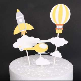 Cake Topper Rocket Hot Air Balloon Helicopter Birthday Decoration Decor Party