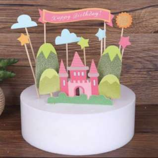 Castle Princess Fairytale Happy Birthday Cake Topper Decoration Party Decor