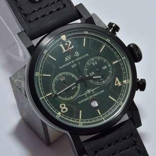 AVI-8 - 4015 - Hawker Hurricane military wrist watch 5ATM 軍錶 黑色真皮帶 深綠色錶面 米色字 (請留意下面Information)