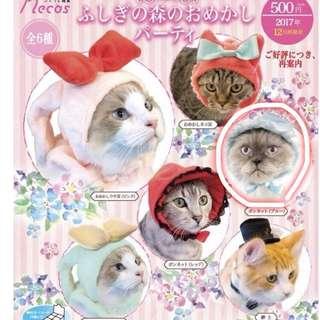 🚚 【現貨】扭蛋 奇譚俱樂部 貓咪帽子 貓頭套 頭巾(紳士貴婦-小藍帽)