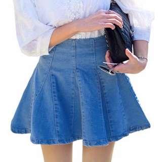 🚚 高腰牛仔短裙魚尾裙百褶牛仔裙荷葉裙 M