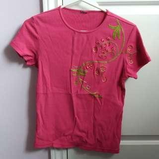 Pink T Shirt Embroidered Flower Vine