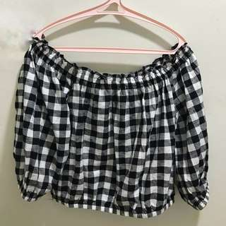 BNWT Forever 21 Off-The-Shoulder Gingham Crop Top