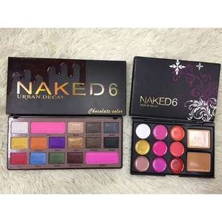 NAKED6 EYESHADOW WITH BLUSHER + LIPSTIK WITH CONCEALER