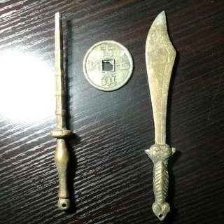 古寶七鎮連銅寶劍2把16cm,古董收藏