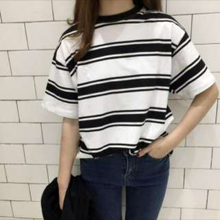 Korean Oversized Striped Shirt / Top